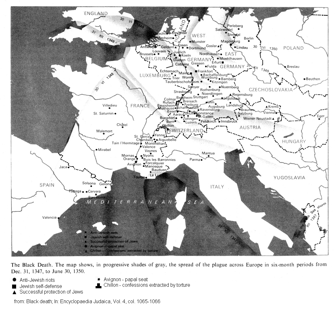 Map 03: Spreading of the black plague and pogroms against the Jews in  Europe 1348