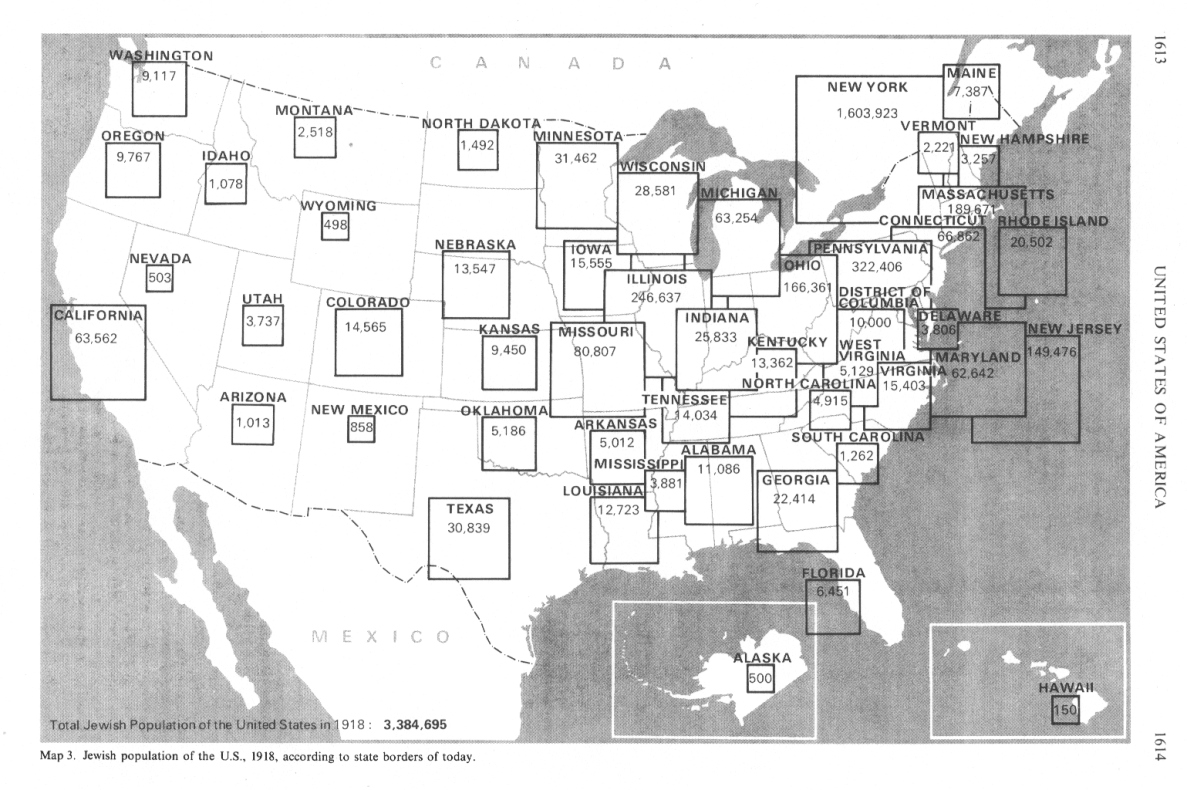 Jews In The USA - Map of jewish population in us