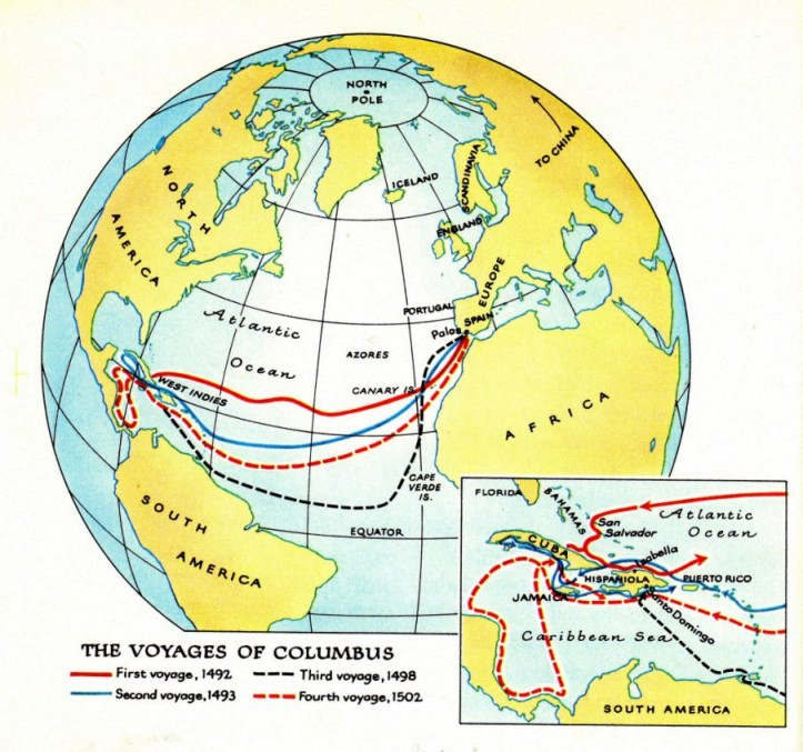1492-1502: the 4 Columbus invasions to \