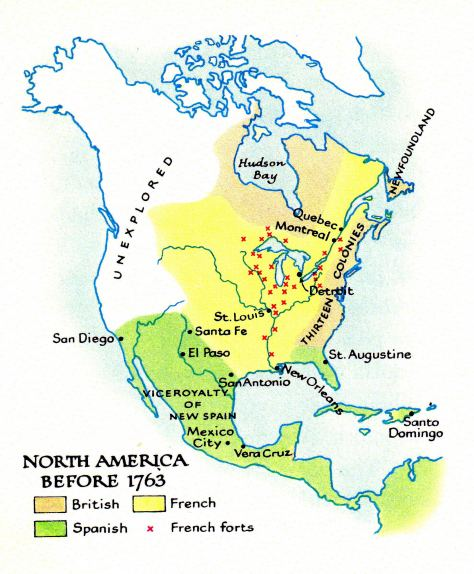 Settling map of North and Central America at 1750 apr before