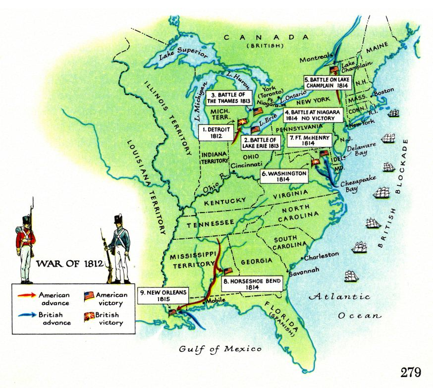 map of second war of independence 1812 1815 between usa and great britain