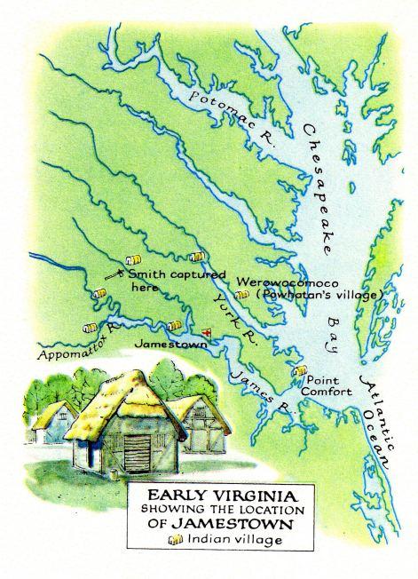 Karte mit der Position von Jamestown und Virginia (\