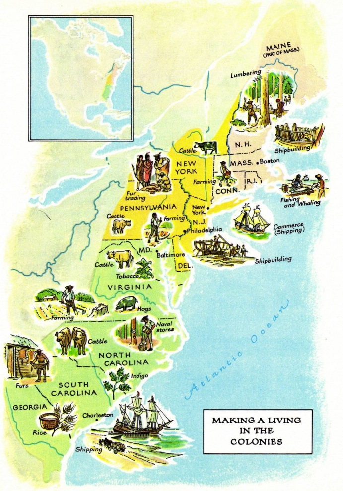 Die Neuenglandkolonien In Amerika Um 1750