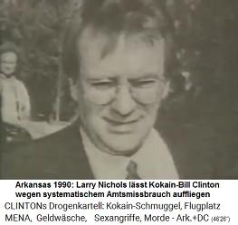 Little Rock (Arkansas): Larry Nichols wird von der ADFA entlassen und rächt sich gegen die Entlassung mit einer Klage gegen den Kokain-Gouverneur Bill Clinton. Nichols lässt dabei viele Liebeleien von Clinton auffliegen, die auf Steuerzahlerkosten durchgeführt wurden