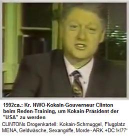 """Der kriminelle NWO-Kokain-Gouverneur Bill Clinton trainierte vor den Präsidentschaftswahlen, wie man """"richtig"""" Reden hält: Immer in die Kamera schauen, und an die eigenen Lügen glauben"""