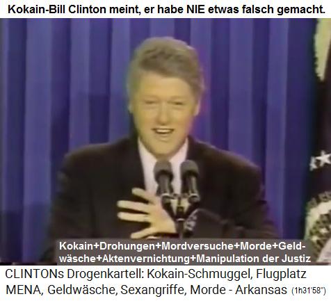 """Der Kokain-Präsident Bill Clinton behauptet, er habe """"nie was falsches gemacht"""""""