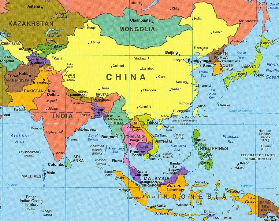 Political asian map