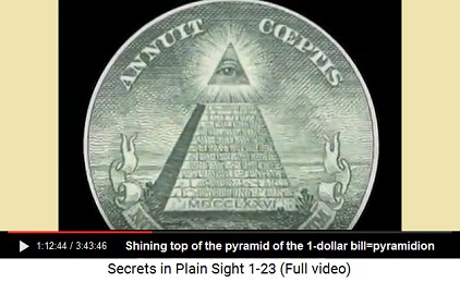 Shining pyramidion on the pyramid of the                       1-dollar bill