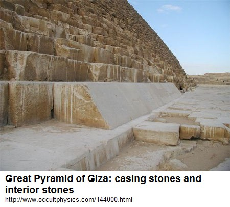 Great Pyramid, casing                     stones and interior stones