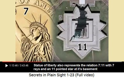 Statue of Liberty with 7 rays and an 11                         pointed star at it's basement represents also                         the proportion 7:11