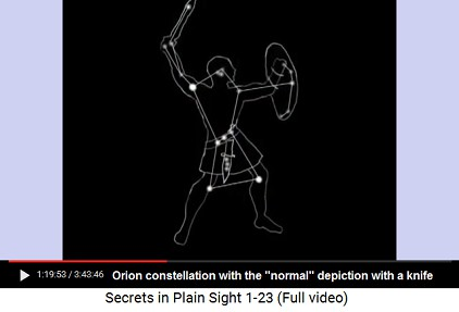 Orion with sword, shield, and knife which can                       also be a phallus