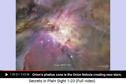 Orion's phallus is Orion Nebula fertile zone                       where lots of new stars are born