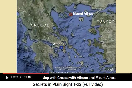 Map of Greece with Athens and Mount Athos