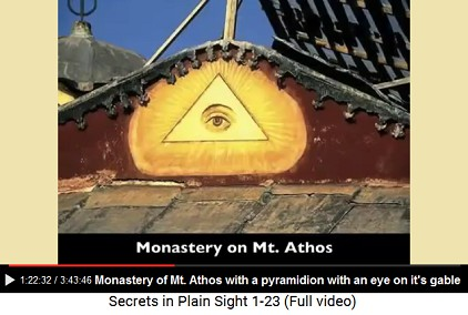 Pyramidion with an eye on a gable wall                             of the monastery of Mount Athos