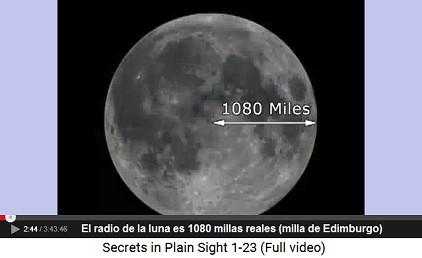 El radio de la luna es 180 millas reales                         (la milla real de Edimburgo)