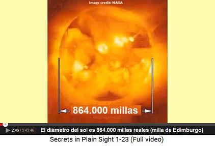 el diámetro del sol es 864.000 millas                         reales (milla de Edimburgo)