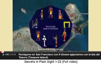 El nonágono en San Francisco con 9 dioses                         egipcios con la Isla del Tesoro (Treasure                         Island)