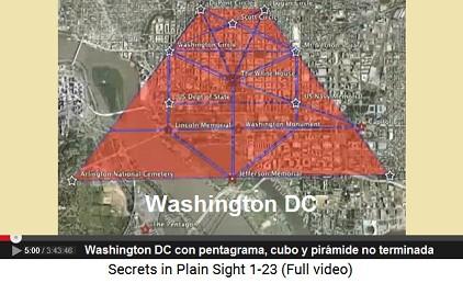 Diagrama vial de Washington DC con un                         pentagrama, con un cubo y con una pirámide                         incompleta