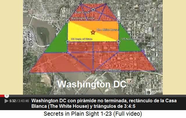 El rectángulo de la Casa Blanca con                         triángulos y con la pirámide no terminada