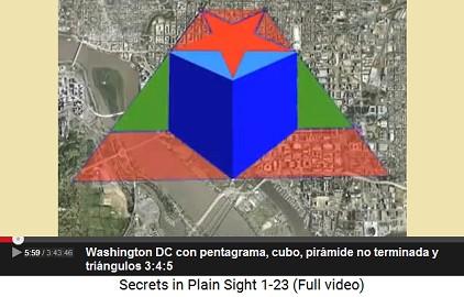 Washington DC con diseño vial con                         pentagrama, cubo, triángulos y pirámide                         incompleta