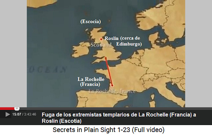 """La fuga de los templarios extremistas con                         sus fantasías de un """"Jesús"""" de La                         Rochelle a Roslin en Escocia desde 1307, mapa"""