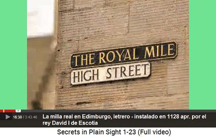 Milla real en Edimburgo, instalada en 1128                         apr. por el rey David I de Escocia, el letrero