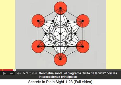 """El esquema """"fruta de la vida""""                           con las intersecciones principales"""