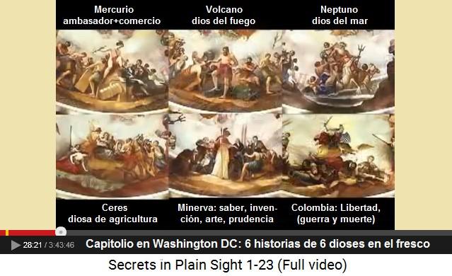 Capitolio en Washington DC: el fresco con 6                         historias de 6 dioses [extraterrestres]