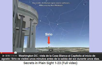 Sirio es visible sobre el Capitolio, vista                         de la Casa Blanca durante unas noches del inicio                         de agosto unos minutos antes de la salida del                         sol