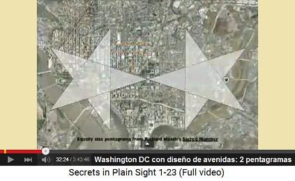 Washington DC con diseño vial con 2                         pentagramas (estrellas de 5 puntos)