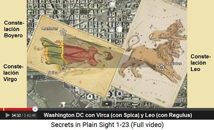 Washington DC con Spica (constelación Virgo),                     Regulus (constelación Leo) y Arcturus (constelación                     Boyero)
