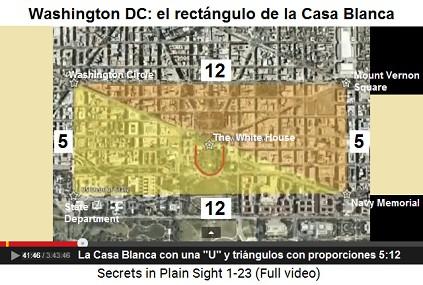 """La Casa Blanca con una """"U"""" y                     triángulos con proporciones 5:12"""