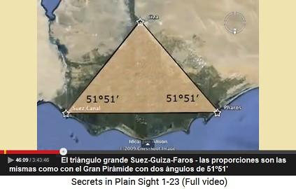 El triángulo grande Suez-Guiza-Faros - las                     proporciones son las mismas como con el Gran                     Pirámide con dos ángulos de 51º51'