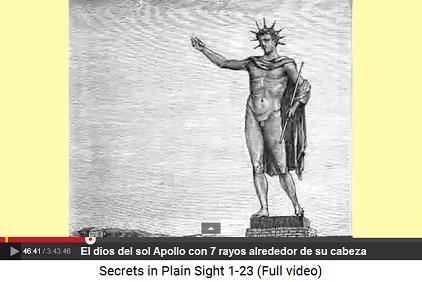La estatua de Apolo con 7 rayos en la isla de                     Rodas en Antigua Grecia