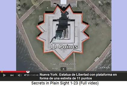 """La Estatua de """"Libertad"""" con una                     plataforma en forma de una estrella de 11 puntos"""