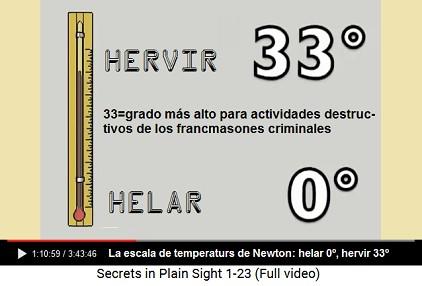 La escala de temperaturas con 33 grados de                     helar a hervir agua - 33 es el grado más alto de la                     francmasonería criminal