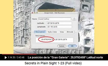 """La posición de la                                           """"Gran Galería"""" de la                                           Gran Pirámide: 29,9792458º                                           Latitud norte - la velocidad                                           de la luz en el vacío tiene el                                           mismo número 299.792.458                                           metros por segundo"""